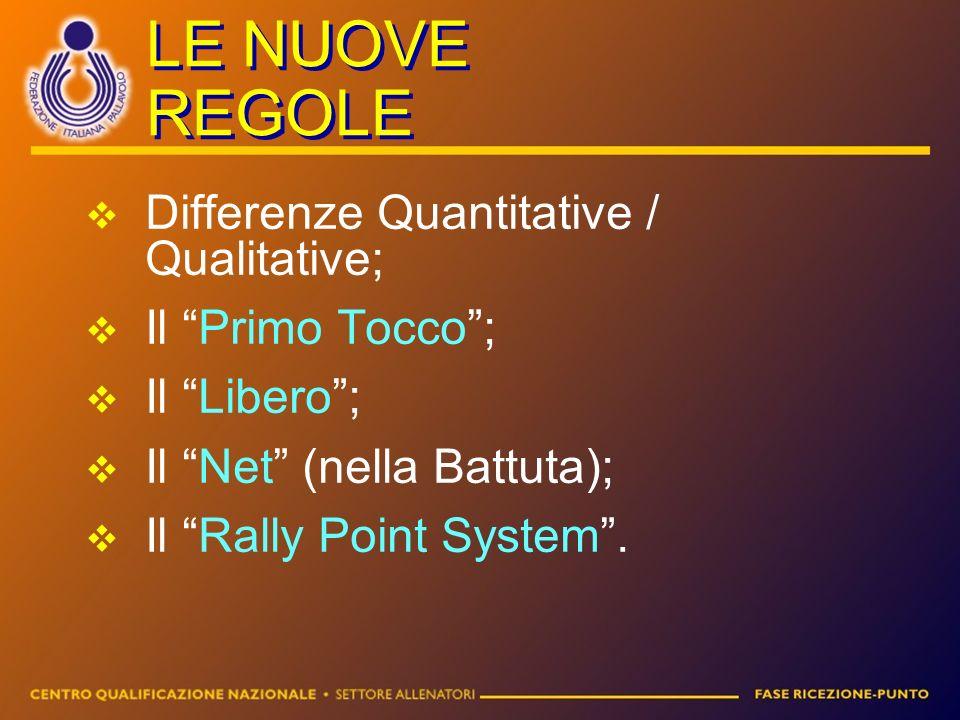 LE NUOVE REGOLE Differenze Quantitative / Qualitative; Il Primo Tocco; Il Libero; Il Net (nella Battuta); Il Rally Point System.