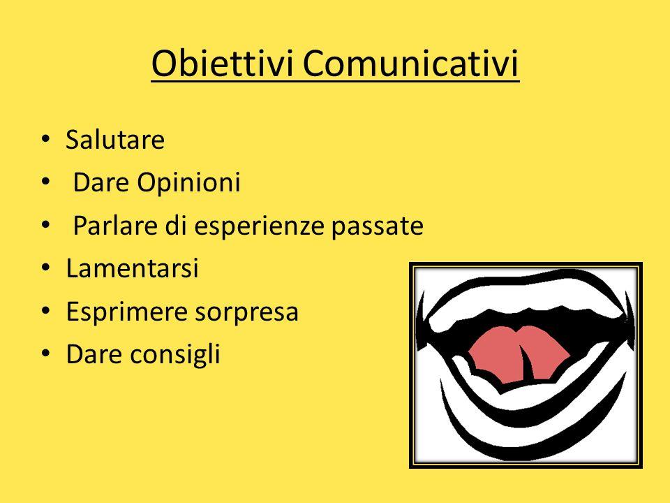 Obiettivi Comunicativi Salutare Dare Opinioni Parlare di esperienze passate Lamentarsi Esprimere sorpresa Dare consigli