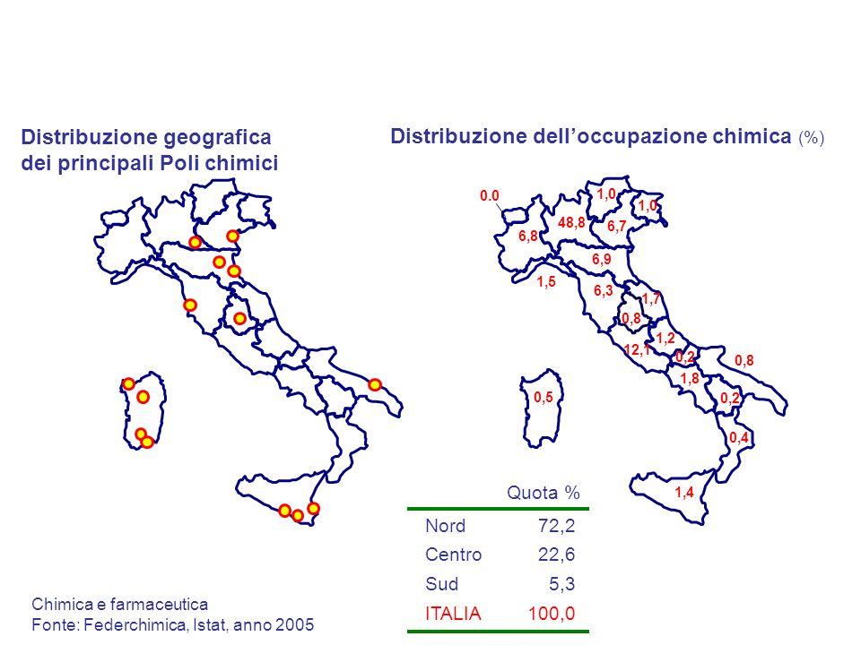 Distribuzione geografica dei principali Poli chimici Distribuzione delloccupazione chimica (%) 1,2 0,2 0,4 1,8 6,9 12,1 48,8 1,7 0,2 6,8 0,8 0,5 1,4 6