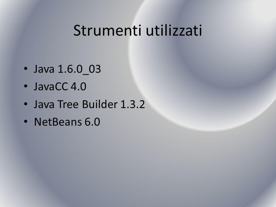 Strumenti utilizzati Java 1.6.0_03 JavaCC 4.0 Java Tree Builder 1.3.2 NetBeans 6.0