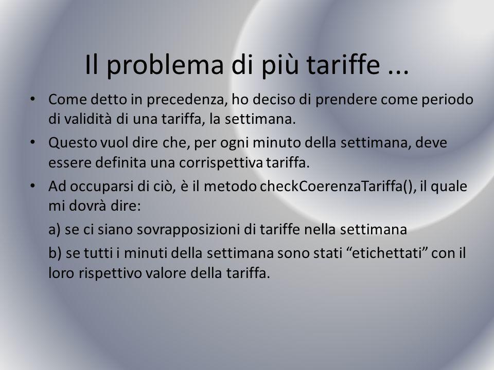Il problema di più tariffe... Come detto in precedenza, ho deciso di prendere come periodo di validità di una tariffa, la settimana. Questo vuol dire