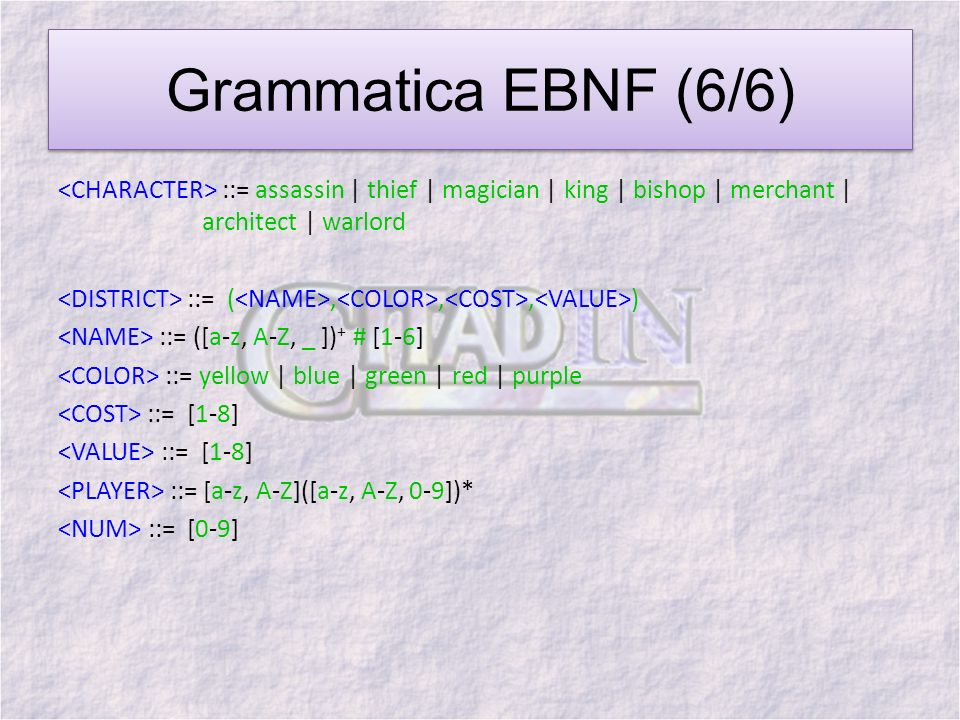 Grammatica EBNF (6/6) ::= assassin | thief | magician | king | bishop | merchant | architect | warlord ::= (,,, ) ::= ([a-z, A-Z, _ ]) + # [1-6] ::= y
