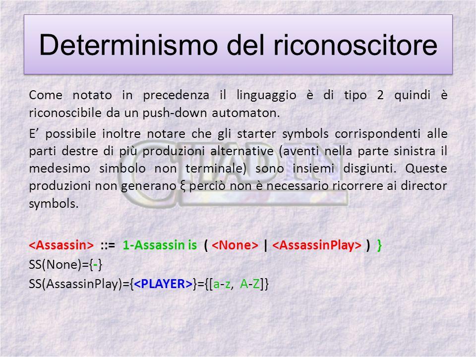 Determinismo del riconoscitore Come notato in precedenza il linguaggio è di tipo 2 quindi è riconoscibile da un push-down automaton.
