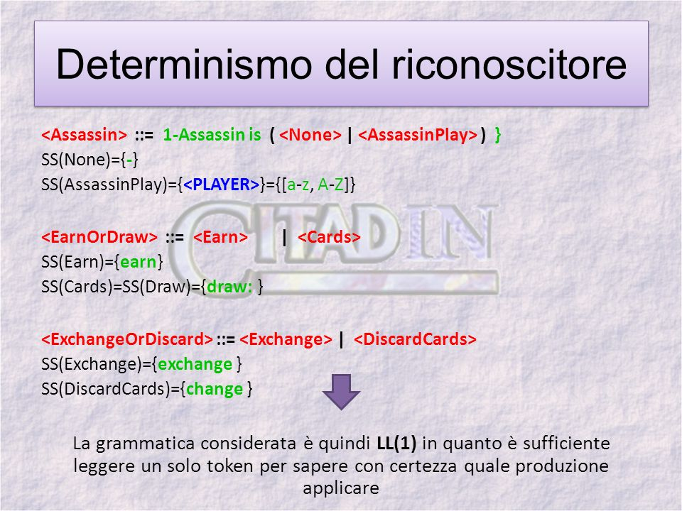 Determinismo del riconoscitore ::= 1-Assassin is ( | ) } SS(None)={-} SS(AssassinPlay)={ }={[a-z, A-Z]} ::= | SS(Earn)={earn} SS(Cards)=SS(Draw)={draw