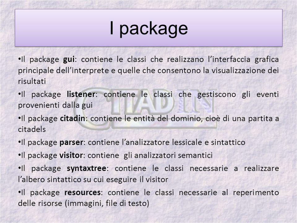 I package Il package gui: contiene le classi che realizzano linterfaccia grafica principale dellinterprete e quelle che consentono la visualizzazione dei risultati Il package listener: contiene le classi che gestiscono gli eventi provenienti dalla gui Il package citadin: contiene le entità del dominio, cioè di una partita a citadels Il package parser: contiene lanalizzatore lessicale e sintattico Il package visitor: contiene gli analizzatori semantici Il package syntaxtree: contiene le classi necessarie a realizzare lalbero sintattico su cui eseguire il visitor Il package resources: contiene le classi necessarie al reperimento delle risorse (immagini, file di testo)