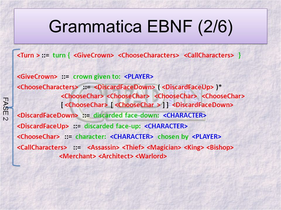 Grammatica EBNF (2/6) ::= turn { } ::= crown given to: ::= ( )* [ [ ] ] ::= discarded face-down: ::= discarded face-up: ::= character: chosen by ::= F