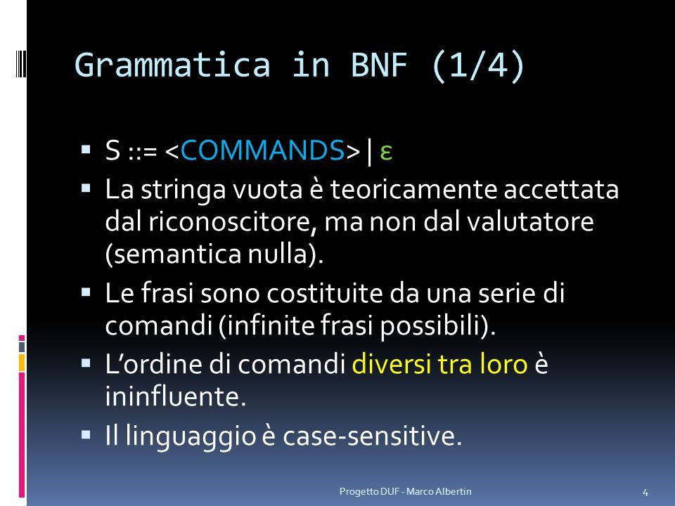 Grammatica in BNF (2/4) ::=, | ::= when( ) | hour( ) | minute( ) | second( ) | context( ) | alertType( ) | text( ) | repeat(, ) ::= - - | / / ::= generic | birthday | anniversary | call | meeting | party | diploma ::= none | discreet | average | maximum | red | lifeordeath ::= [ ] | [] ::=, | ::= yearDelay( ) | dayDelay( ) | hourDelay( ) | minuteDelay( ) | increasing_priority | relaxing_priority | static_priority 5 Progetto DUF - Marco Albertin Comandi principali Formati di data Enumerativi Sottocomandi di repeat