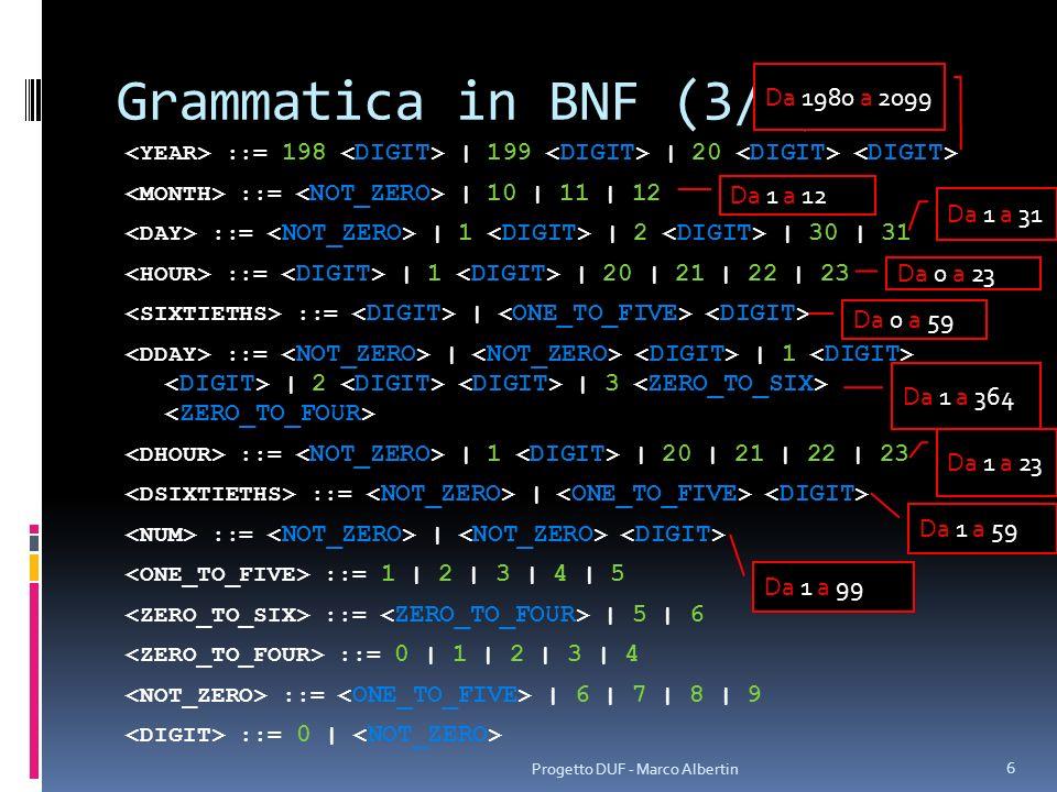Grammatica in BNF (4/4) ::= | ε ::= a | … | z | A | … | Z | | … Progetto DUF - Marco Albertin 7 Tutti i caratteri sono ammessi eccetto lapostrofo singolo (serve a delimitare la stringa)