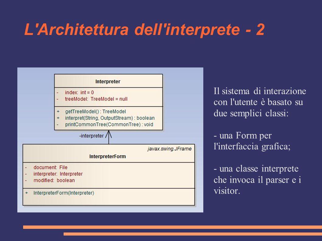 L'Architettura dell'interprete - 2 Il sistema di interazione con l'utente è basato su due semplici classi: - una Form per l'interfaccia grafica; - una