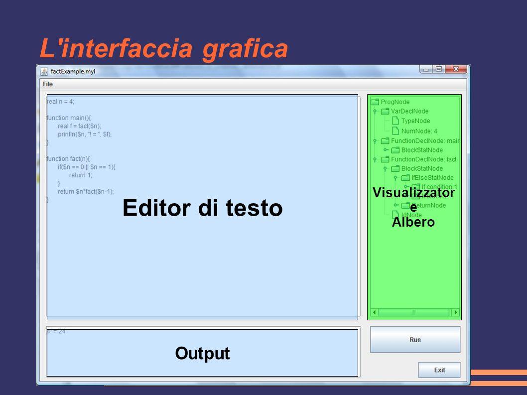 L'interfaccia grafica Editor di testo Visualizzator e Albero Output