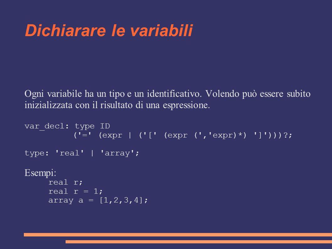 Dichiarare le variabili Ogni variabile ha un tipo e un identificativo. Volendo può essere subito inizializzata con il risultato di una espressione. va