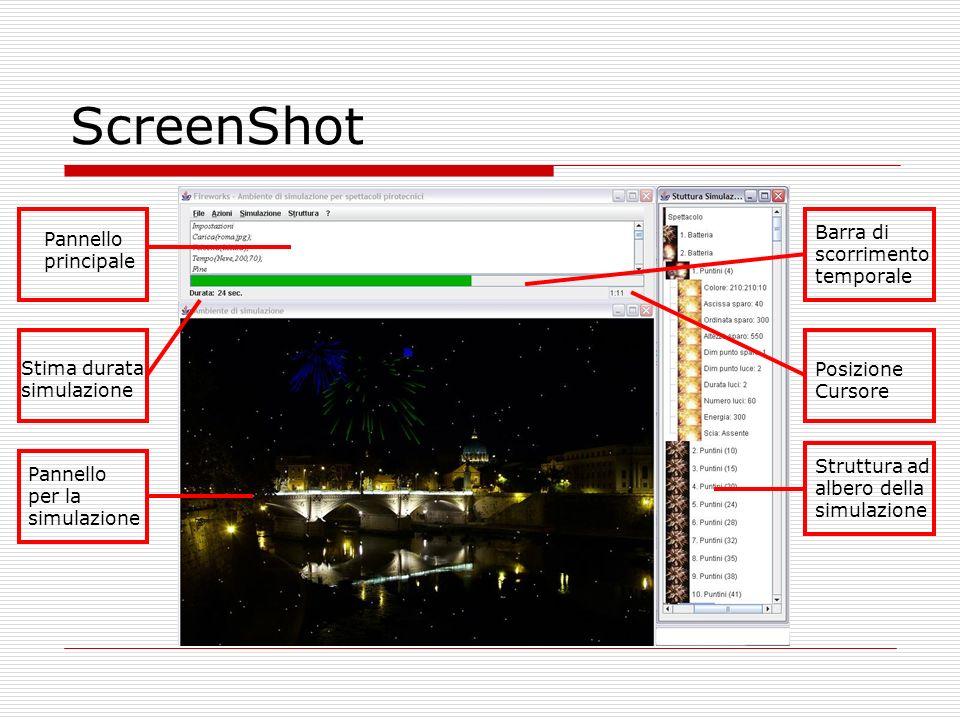 ScreenShot Pannello principale Pannello per la simulazione Struttura ad albero della simulazione Stima durata simulazione Barra di scorrimento tempora