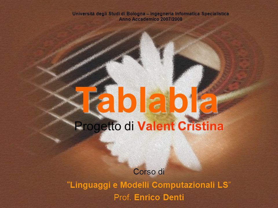 Tablabla Università degli Studi di Bologna – Ingegneria Informatica Specialistica Anno Accademico 2007/2008 Valent Cristina Progetto di Valent Cristin