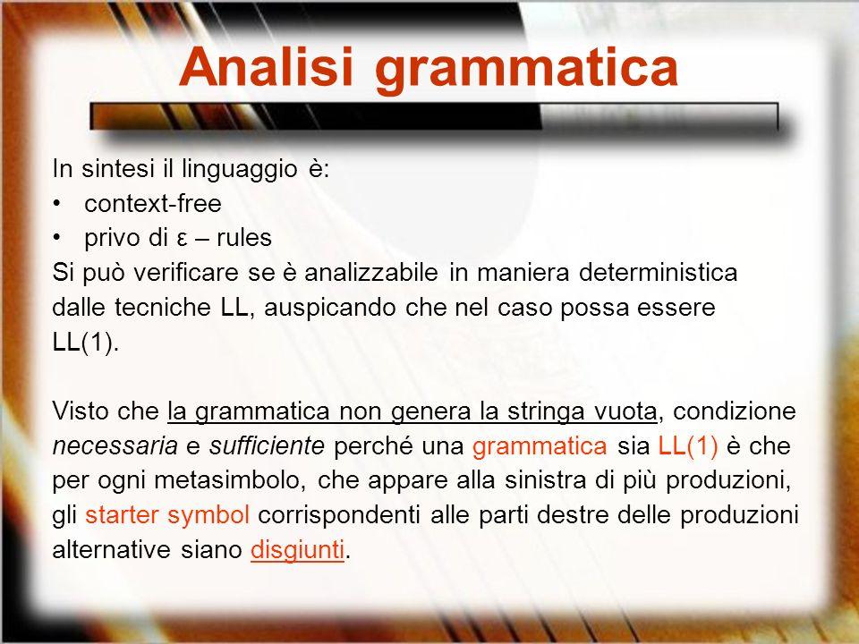 Analisi grammatica In sintesi il linguaggio è: context-free privo di ε – rules Si può verificare se è analizzabile in maniera deterministica dalle tec
