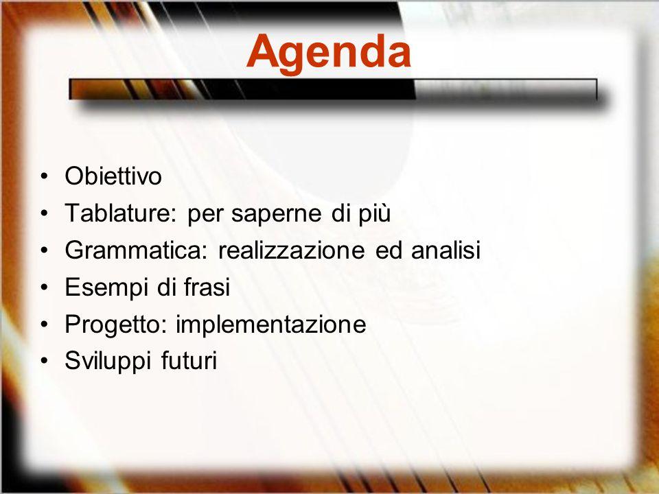 Agenda Obiettivo Tablature: per saperne di più Grammatica: realizzazione ed analisi Esempi di frasi Progetto: implementazione Sviluppi futuri