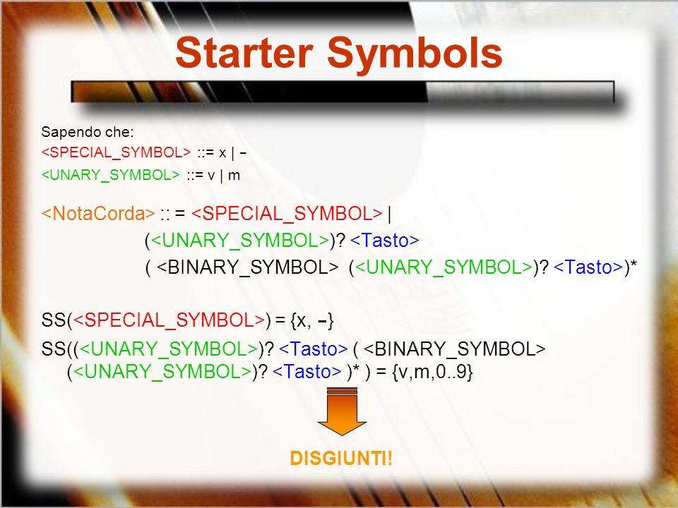 Starter Symbols Sapendo che: ::= x | - ::= v | m :: = | ( )? ( ( )? )* SS( ) = {x, - } SS(( )? ( ( )? )* ) = {v,m,0..9} DISGIUNTI!