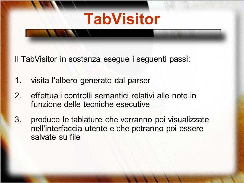 TabVisitor Il TabVisitor in sostanza esegue i seguenti passi: 1.visita lalbero generato dal parser 2.effettua i controlli semantici relativi alle note