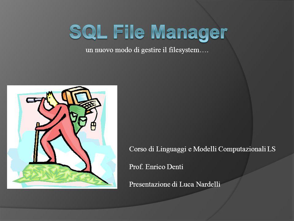 Corso di Linguaggi e Modelli Computazionali LS Prof. Enrico Denti Presentazione di Luca Nardelli un nuovo modo di gestire il filesystem….