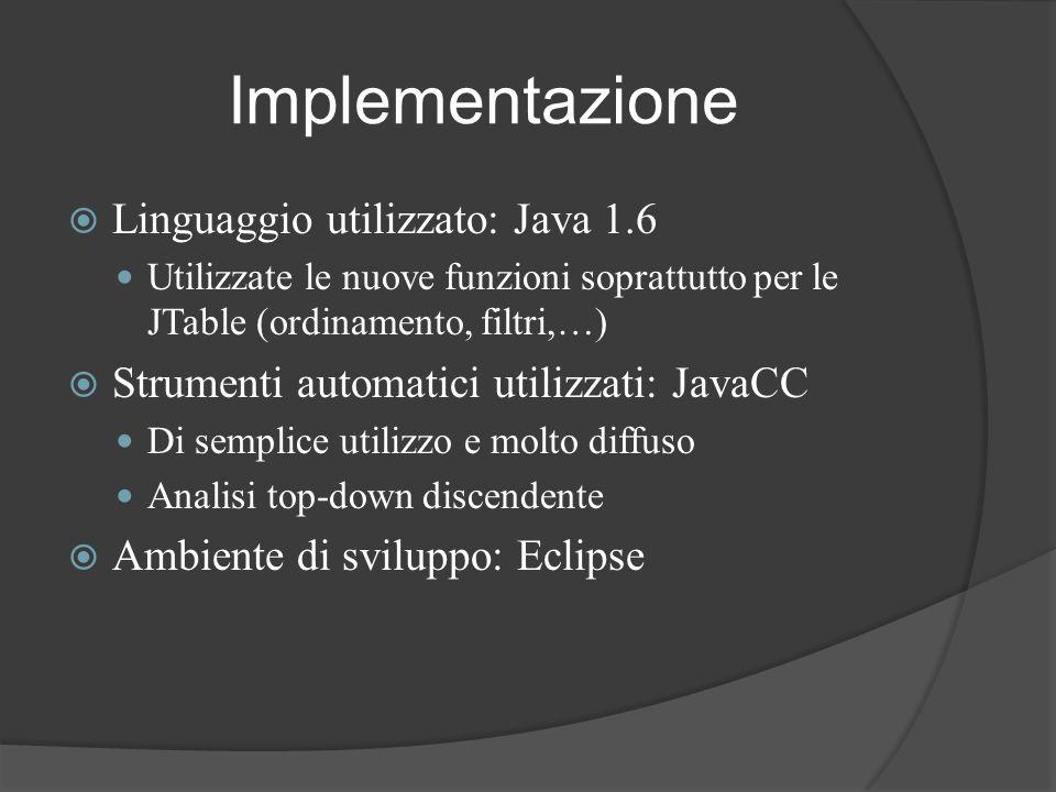 Implementazione Linguaggio utilizzato: Java 1.6 Utilizzate le nuove funzioni soprattutto per le JTable (ordinamento, filtri,…) Strumenti automatici ut