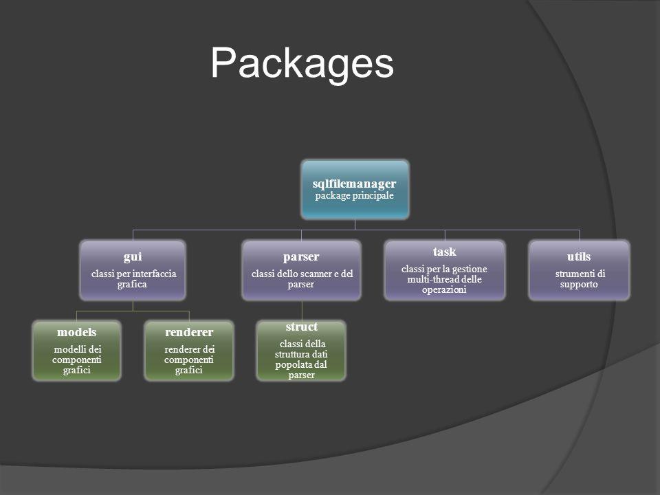 Il Parser Implementato in SFMParser Utilizzato come singleton Utilizza lo scanner generato da javacc Restituisce una struttura di tipo query per ogni istruzione, null in caso di EOF