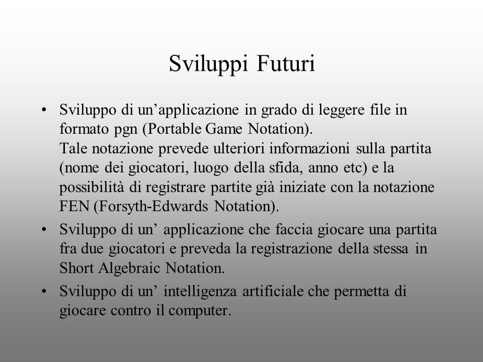 Sviluppi Futuri Sviluppo di unapplicazione in grado di leggere file in formato pgn (Portable Game Notation). Tale notazione prevede ulteriori informaz
