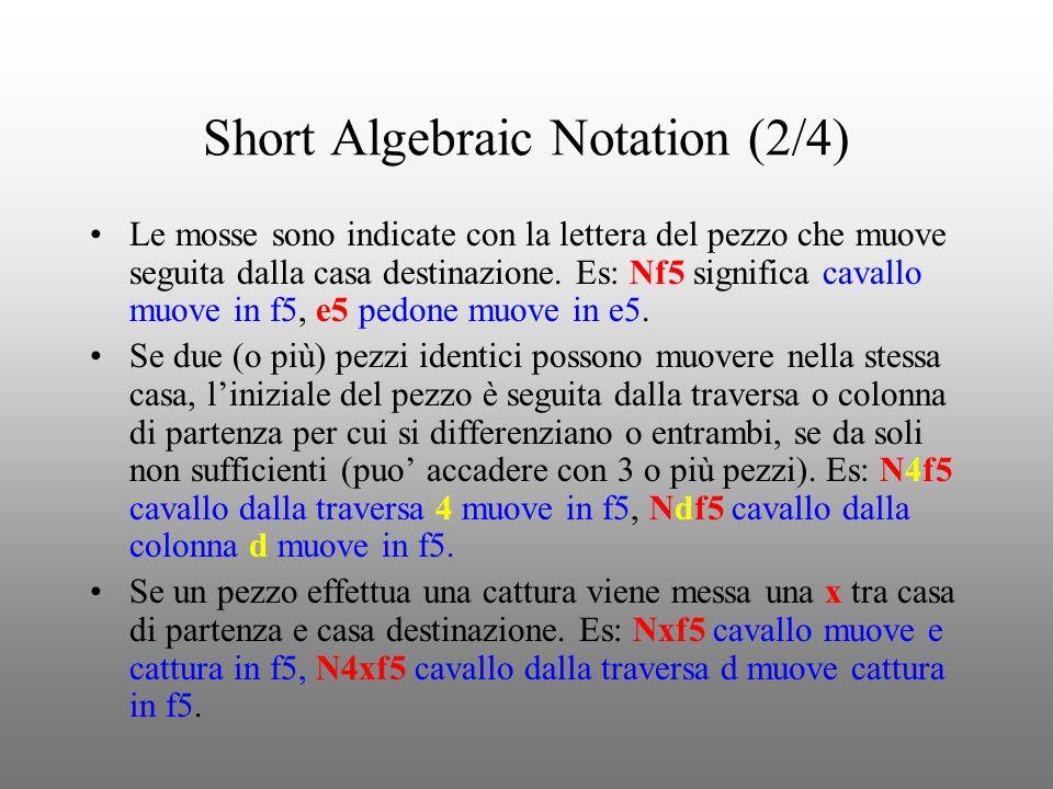 Short Algebraic Notation (3/4) Quando un pedone muove in ultima traversa (promozione) il pezzo scelto è indicato dopo la mossa, eventualmente preceduto da = (Es: e8=Q oppure e8Q promozione a regina).