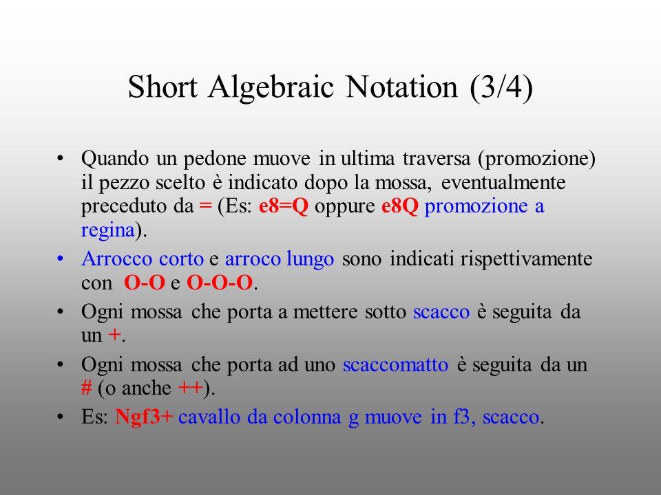 Short Algebraic Notation (3/4) Quando un pedone muove in ultima traversa (promozione) il pezzo scelto è indicato dopo la mossa, eventualmente precedut