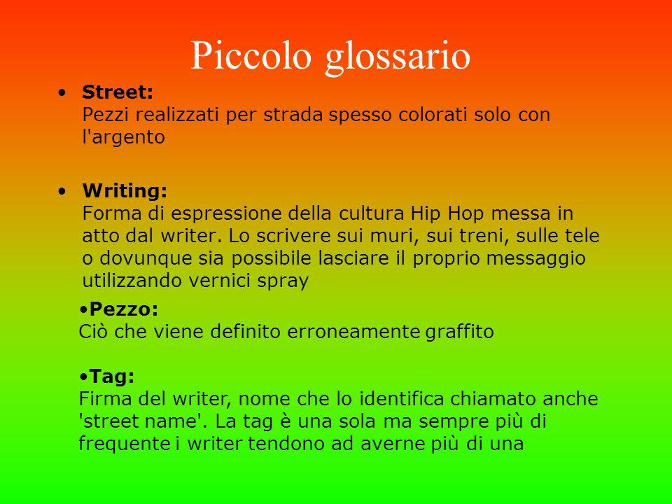 Piccolo glossario Street: Pezzi realizzati per strada spesso colorati solo con l'argento Writing: Forma di espressione della cultura Hip Hop messa in