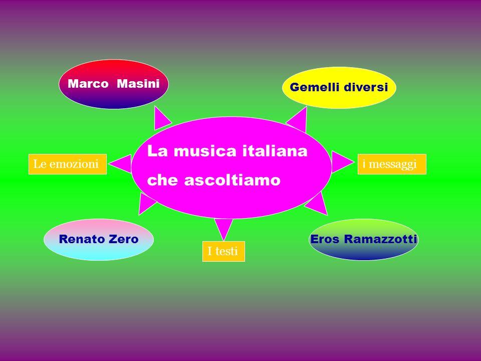La musica italiana che ascoltiamo Le emozioni i messaggi I testi Marco Masini Gemelli diversi Renato ZeroEros Ramazzotti