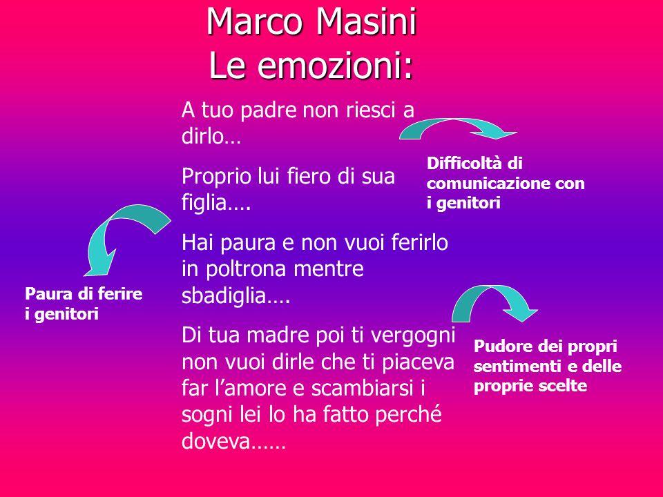 Marco Masini Le emozioni: A tuo padre non riesci a dirlo… Proprio lui fiero di sua figlia….
