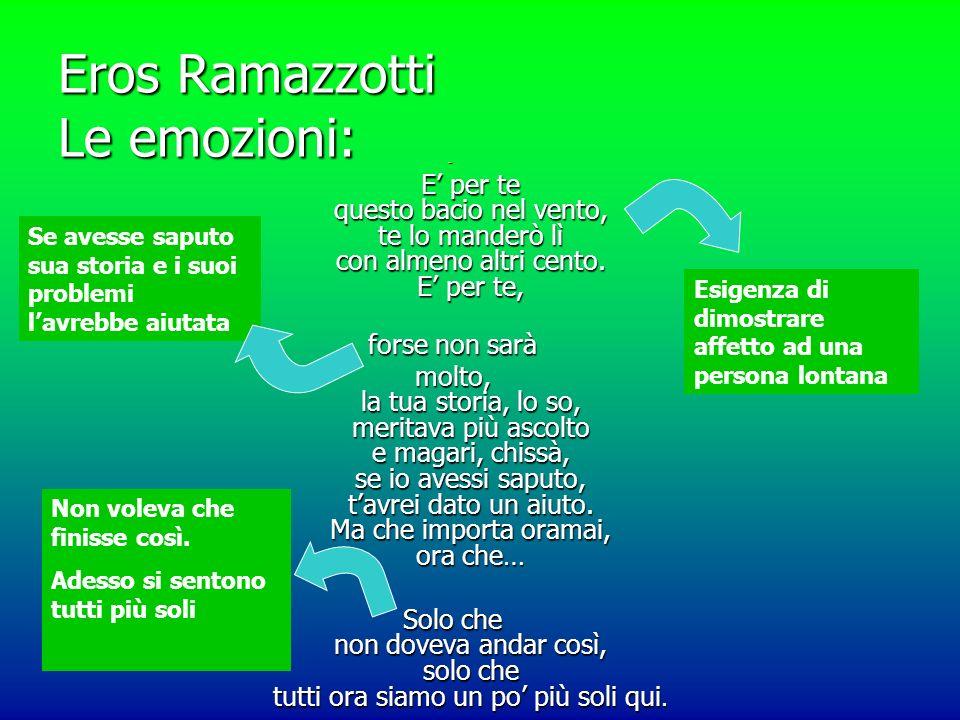 Eros Ramazzotti Le emozioni: E per te questo bacio nel vento, te lo manderò lì con almeno altri cento.
