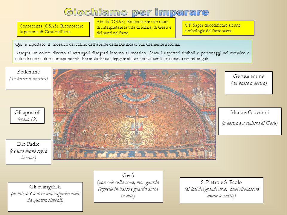 Qui è riportato il mosaico del catino dellabside della Basilica di San Clemente a Roma. Assegna un colore diverso ai rettangoli disegnati intorno al m