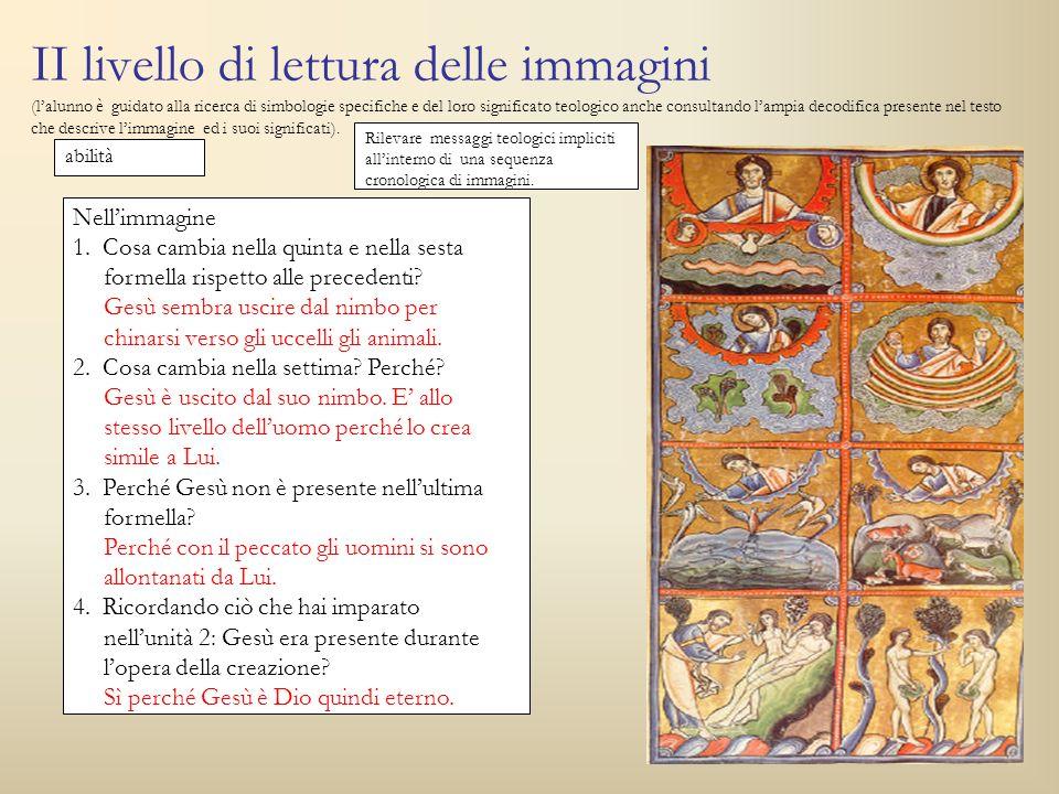II livello di lettura delle immagini (lalunno è guidato alla ricerca di simbologie specifiche e del loro significato teologico anche consultando lampi