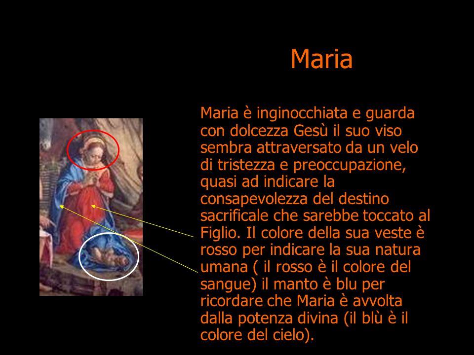 Maria è inginocchiata e guarda con dolcezza Gesù il suo viso sembra attraversato da un velo di tristezza e preoccupazione, quasi ad indicare la consap