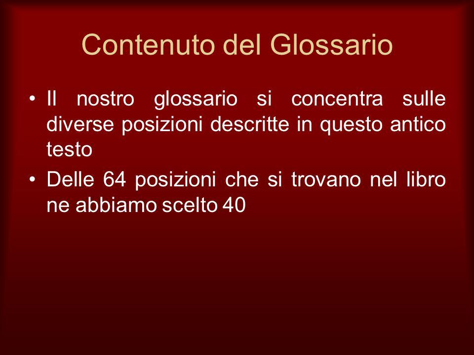 Contenuto del Glossario Il nostro glossario si concentra sulle diverse posizioni descritte in questo antico testo Delle 64 posizioni che si trovano ne