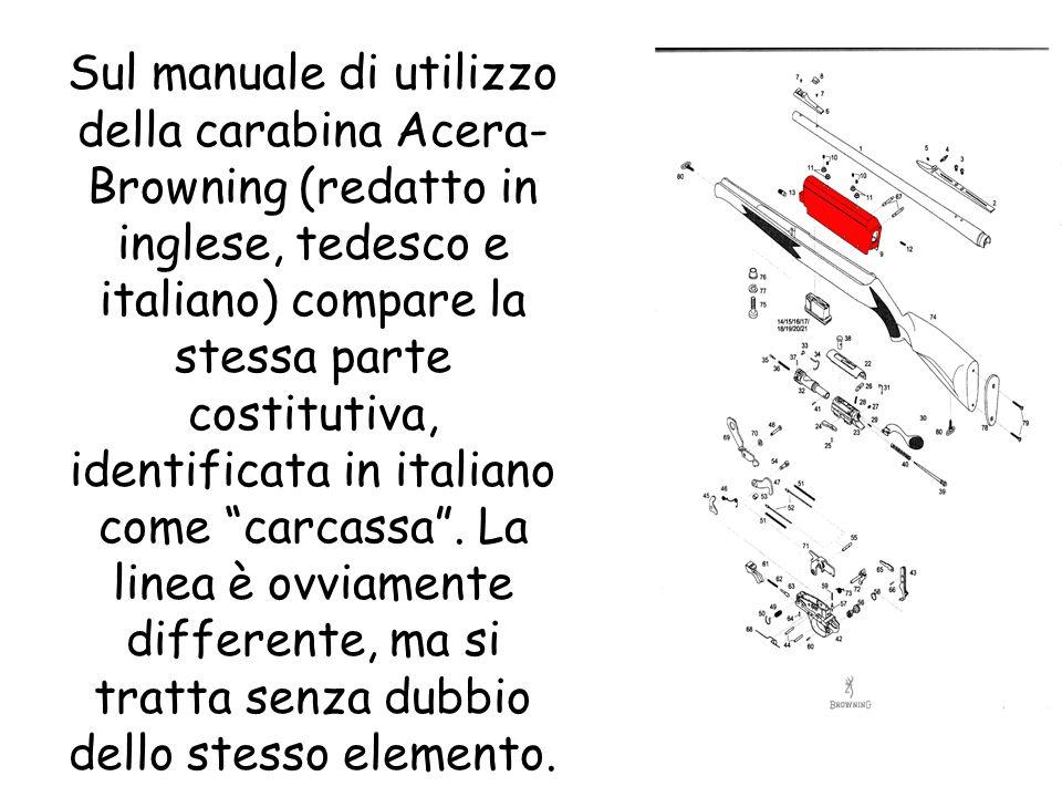 Sul manuale di utilizzo della carabina Acera- Browning (redatto in inglese, tedesco e italiano) compare la stessa parte costitutiva, identificata in i