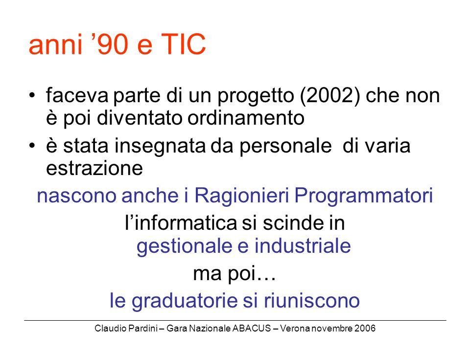 Claudio Pardini – Gara Nazionale ABACUS – Verona novembre 2006 anni 90 e TIC faceva parte di un progetto (2002) che non è poi diventato ordinamento è stata insegnata da personale di varia estrazione nascono anche i Ragionieri Programmatori linformatica si scinde in gestionale e industriale ma poi… le graduatorie si riuniscono