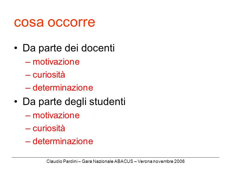 Claudio Pardini – Gara Nazionale ABACUS – Verona novembre 2006 cosa occorre Da parte dei docenti –motivazione –curiosità –determinazione Da parte degli studenti –motivazione –curiosità –determinazione