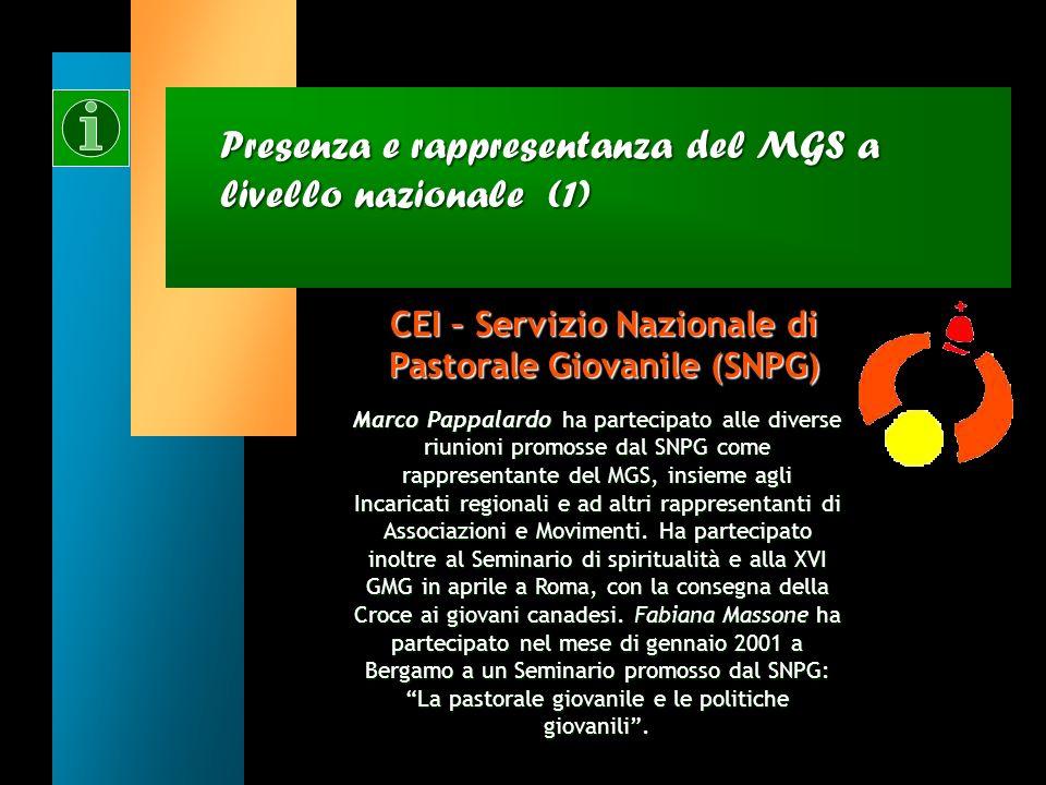 Presenza e rappresentanza del MGS a livello nazionale CEI – Servizio Nazionale di Pastorale Giovanile (SNPG) CEI – Servizio Nazionale di Pastorale Gio