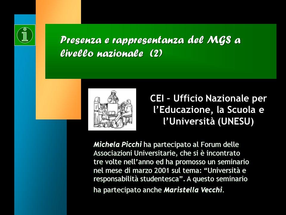 Presenza e rappresentanza del MGS a livello nazionale (1) CEI – Servizio Nazionale di Pastorale Giovanile (SNPG) Marco Pappalardo ha partecipato alle