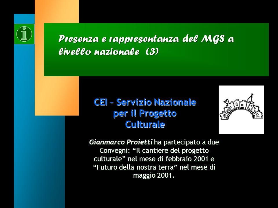 Presenza e rappresentanza del MGS a livello nazionale (2) CEI – Ufficio Nazionale per lEducazione, la Scuola e lUniversità (UNESU) Michela Picchi ha p