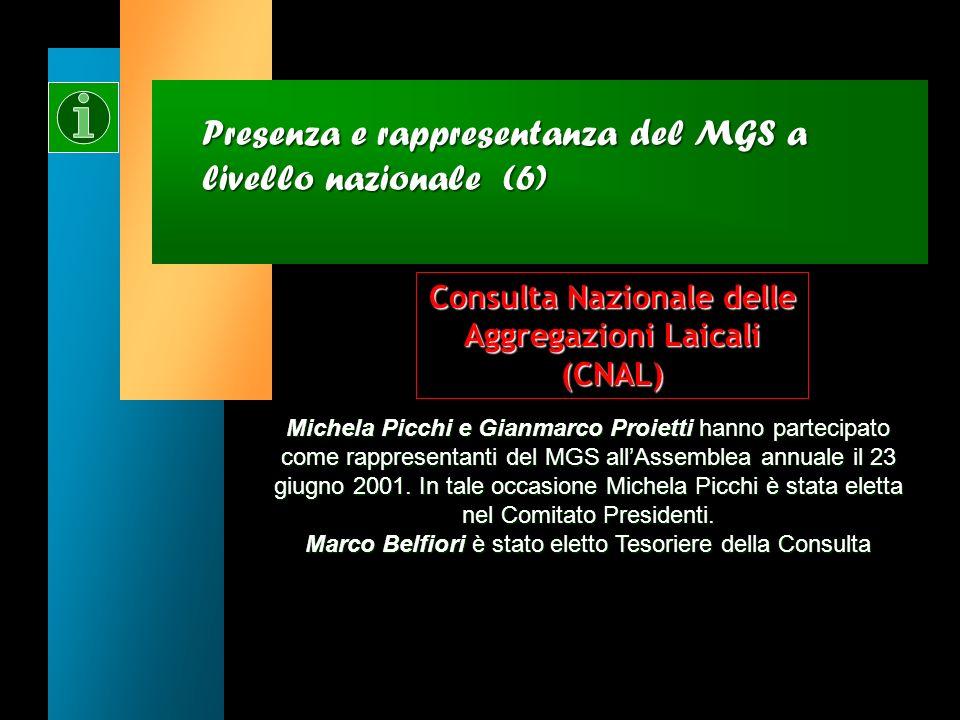 Presenza e rappresentanza del MGS a livello nazionale (5) Marco Pappalardo ha partecipato allAssemblea costituente del FOI come rappresentante del MGS