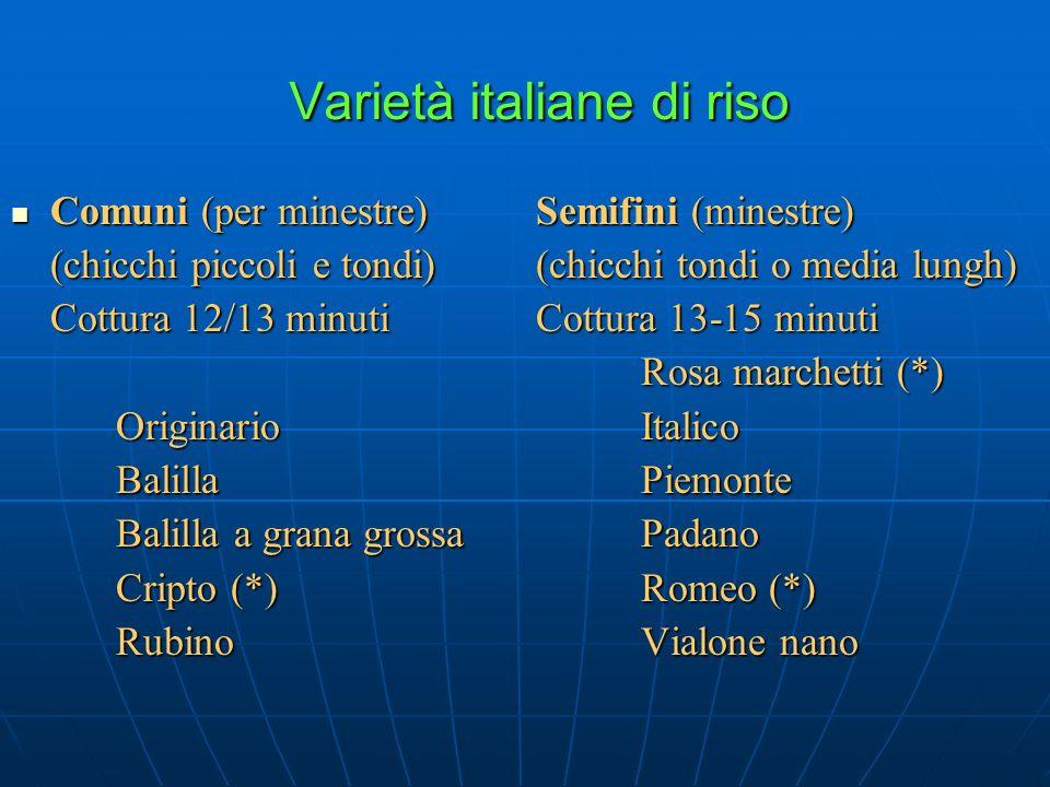Varietà italiane di riso Comuni (per minestre)Semifini (minestre) Comuni (per minestre)Semifini (minestre) (chicchi piccoli e tondi)(chicchi tondi o m