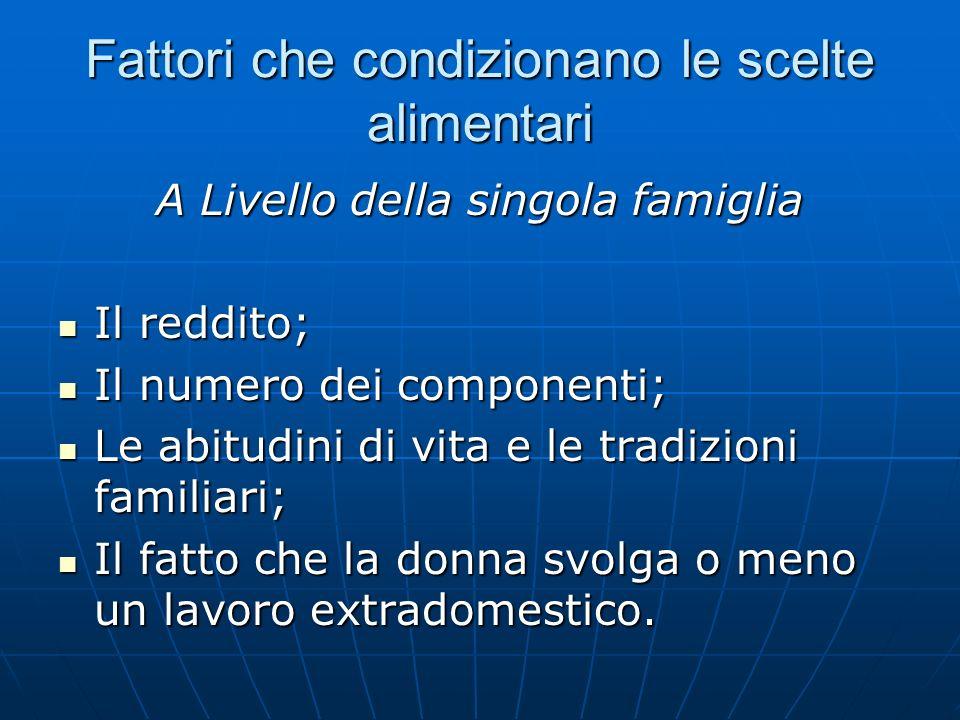 Fattori che condizionano le scelte alimentari A Livello della singola famiglia Il reddito; Il reddito; Il numero dei componenti; Il numero dei compone