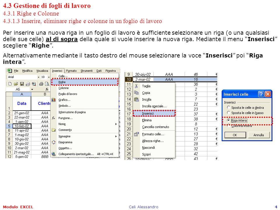 Modulo EXCELCeli Alessandro4 4.3 Gestione di fogli di lavoro 4.3.1 Righe e Colonne 4.3.1.3 Inserire, eliminare righe e colonne in un foglio di lavoro Per inserire una nuova riga in un foglio di lavoro è sufficiente selezionare un riga (o una qualsiasi delle sue celle) al di sopra della quale si vuole inserire la nuova riga.