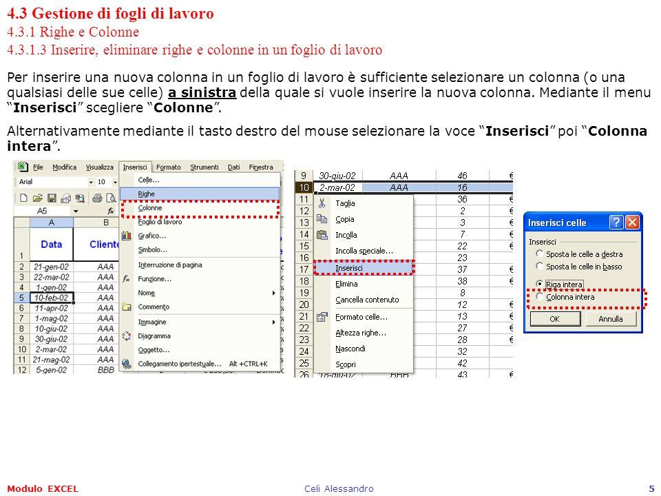 Modulo EXCELCeli Alessandro5 4.3 Gestione di fogli di lavoro 4.3.1 Righe e Colonne 4.3.1.3 Inserire, eliminare righe e colonne in un foglio di lavoro Per inserire una nuova colonna in un foglio di lavoro è sufficiente selezionare un colonna (o una qualsiasi delle sue celle) a sinistra della quale si vuole inserire la nuova colonna.