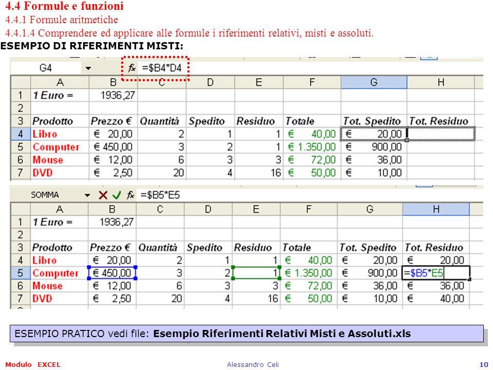 Modulo EXCELAlessandro Celi10 4.4 Formule e funzioni 4.4.1 Formule aritmetiche 4.4.1.4 Comprendere ed applicare alle formule i riferimenti relativi, m