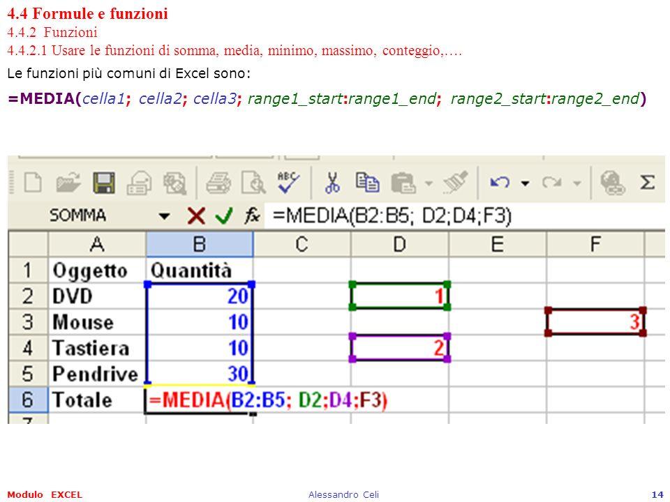 Modulo EXCELAlessandro Celi14 4.4 Formule e funzioni 4.4.2 Funzioni 4.4.2.1 Usare le funzioni di somma, media, minimo, massimo, conteggio,…. Le funzio