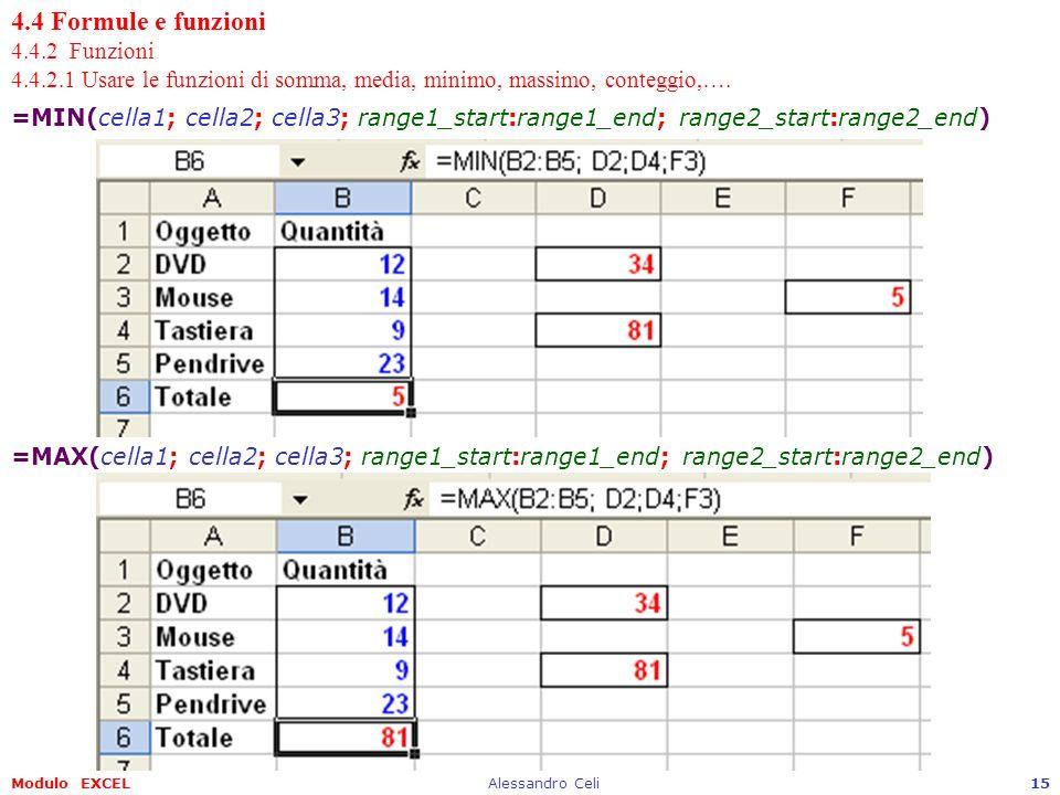 Modulo EXCELAlessandro Celi15 4.4 Formule e funzioni 4.4.2 Funzioni 4.4.2.1 Usare le funzioni di somma, media, minimo, massimo, conteggio,…. =MIN(cell