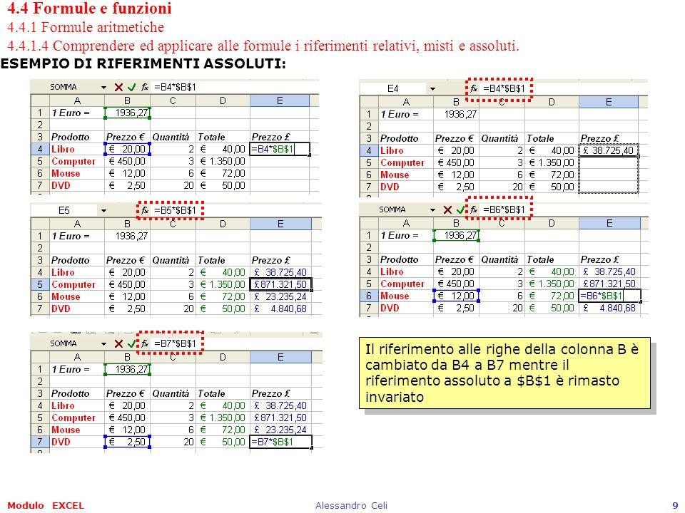 Modulo EXCELAlessandro Celi10 4.4 Formule e funzioni 4.4.1 Formule aritmetiche 4.4.1.4 Comprendere ed applicare alle formule i riferimenti relativi, misti e assoluti.